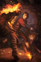 Jon Snow fighting off a wight GOT by JohnMcCambridge