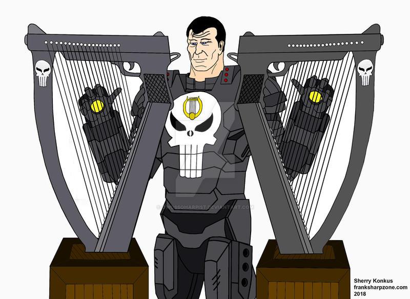 War Machine Punisher plays double on 2 Gun Harps. by OwossoHarpist