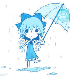 Blue Cirno in the rain by Boldblade