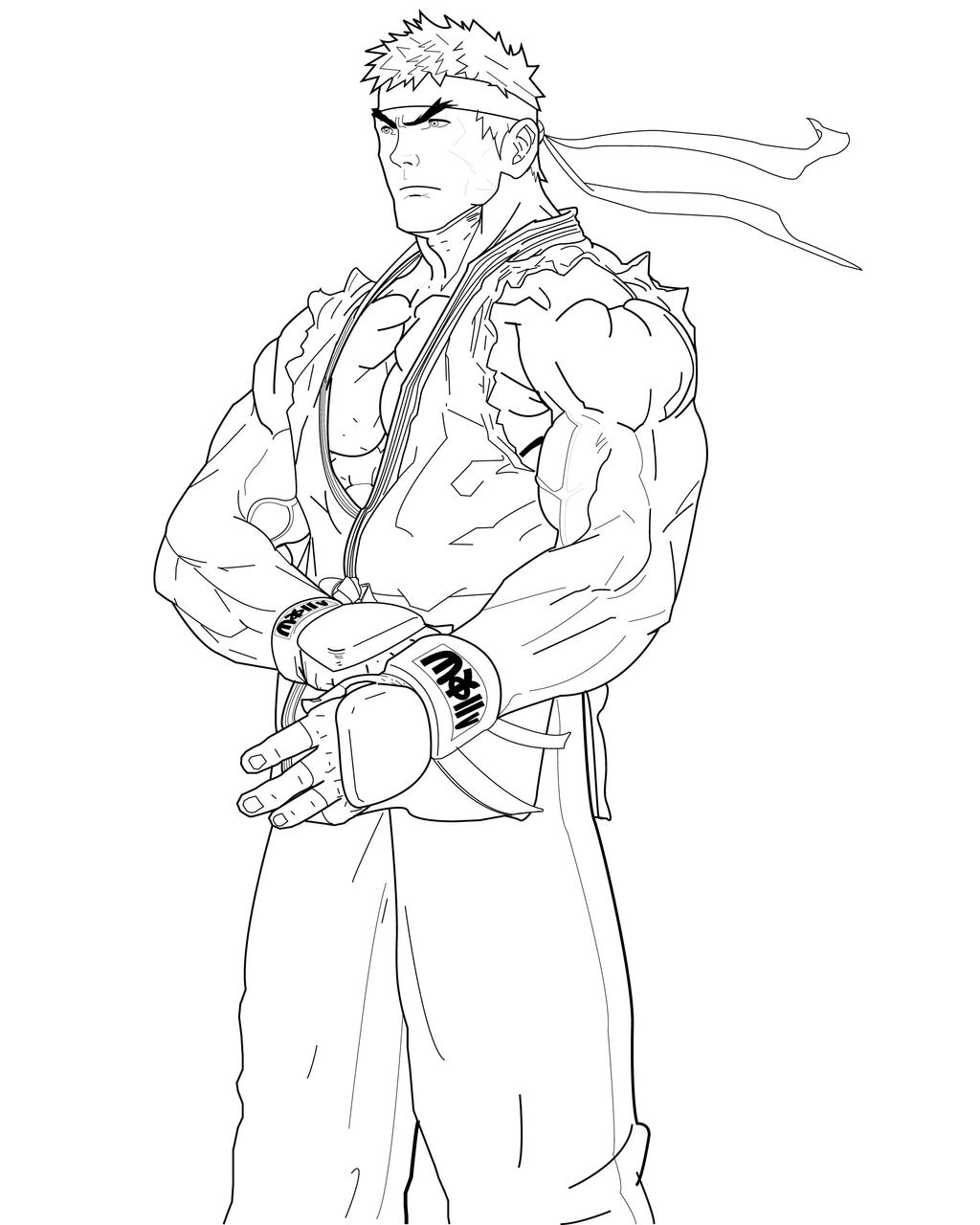 ryu coloring pages ryu lines by ruga rell on deviantart
