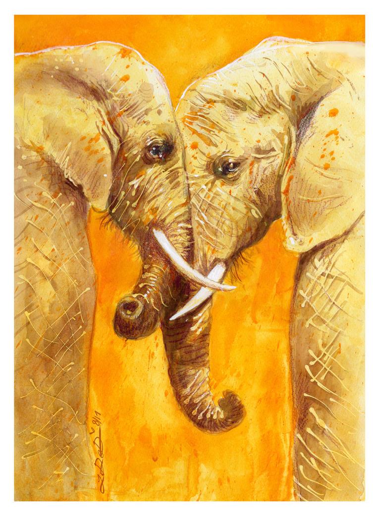 Yellow Elephants by PookiePony