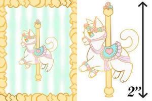White Carousel Cat Enamel Pin