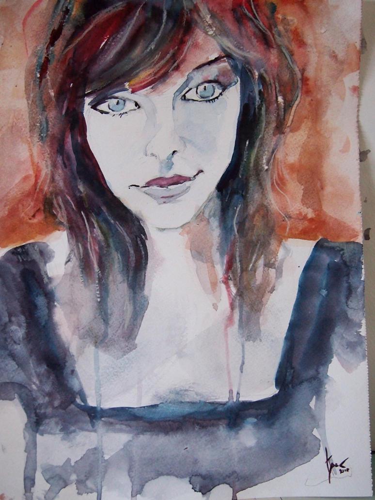 Milla Jovovich, watercolour :) by Seechangeable