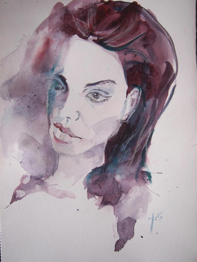 Angelina Jolie, watercolour by Seechangeable