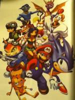 Sonic Mario Sly Cooper Spyro Crash Bandicoot Art by Zilly666