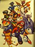Sonic Mario Sly Cooper Spyro Crash Bandicoot Art