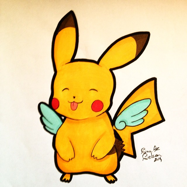 Winged Pikachu by ImagiNina