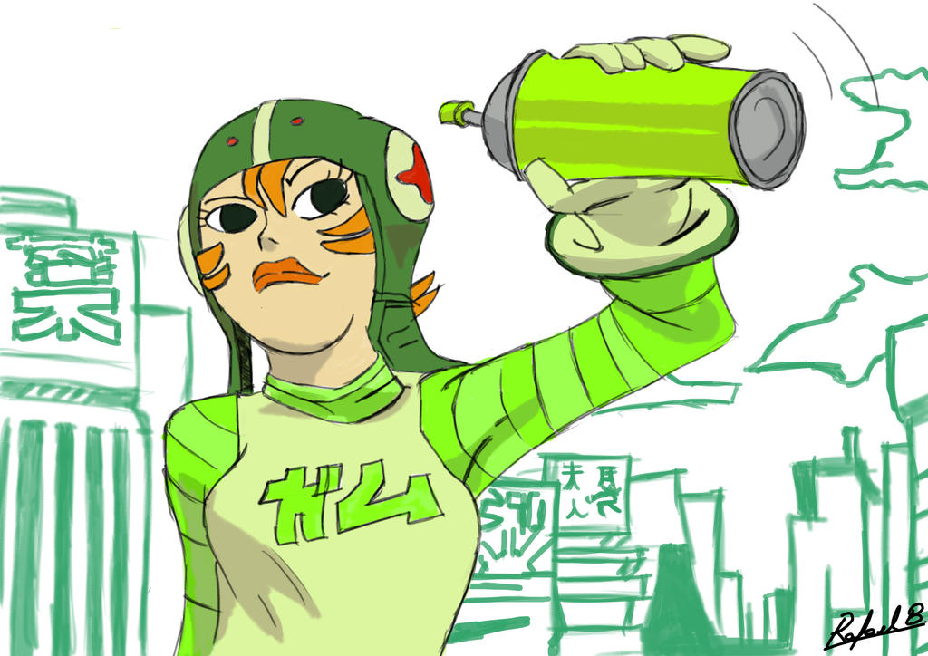 Digital Sketch - Gum from Jet Set Radio by Rafagafanhotobra