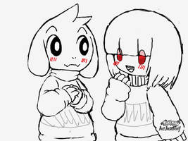 Asriel and Chara by Loveponies89