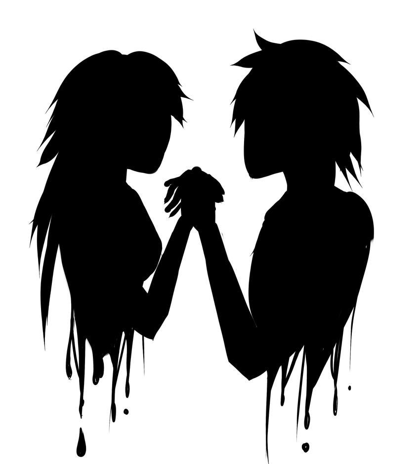 Castiel Black And White Silhouette