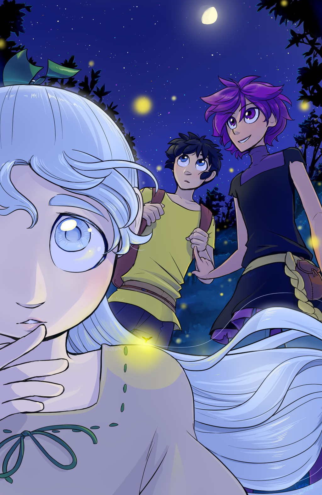 Sikue stares at the viewer with an unreadable expression. Behind her, Yokiro and Tatsuma gaze at the night sky, fireflies surrounding them in the forest.