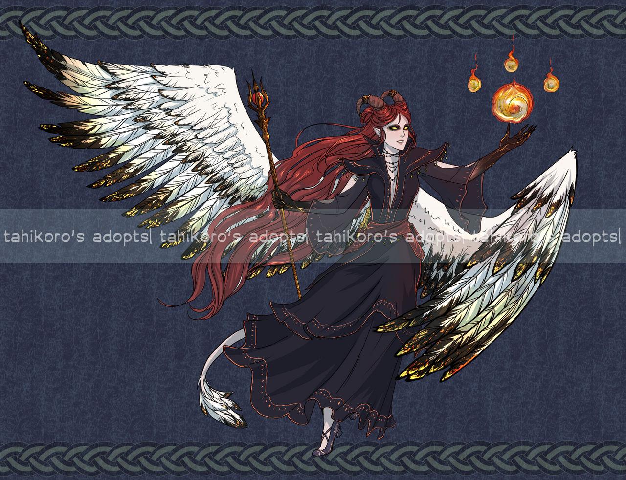 Aasimar Sorcerer semi-custom aasimar tiefling fiery sorcerertahikoro on