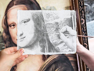 Tracing a b/w version of the Mona Lisa