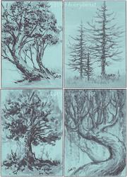 Trees | ATCs by silverybeast