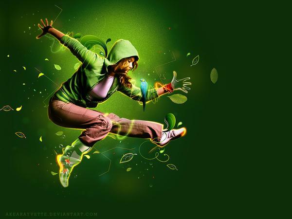 jump_green wall paper by AkearaYvette