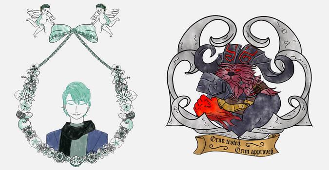 Portraits - Ornn (LoL) and V (Mystic Messenger)