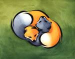 Cuddling foxes