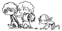 Frodo, Sam and Smeag by lawksie