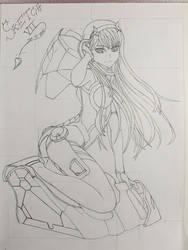 Zero Two/Darling in the FRANXX/Sketch VII by Vila78
