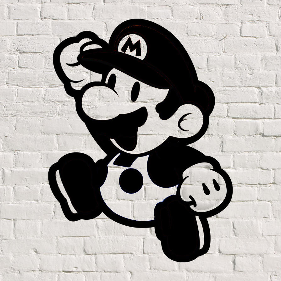 Mario Graffiti-Stencil (PShop) by Tilt300 on DeviantArt  Mario Graffiti-...