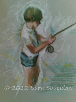 Pastel Fishing Boy
