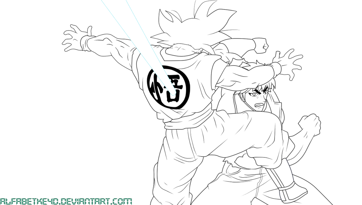 Line Art Vs Sketch : Lineart goku vs toriko by alfabetke d on deviantart
