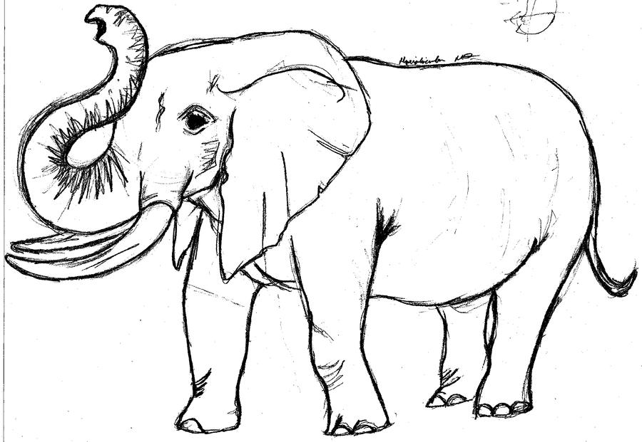 Elephant Trunk Up Drawing Mother elephant byAfrican Elephant Drawing Trunk Up