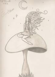 Fairy on a Mushroom by xnikkisonfire