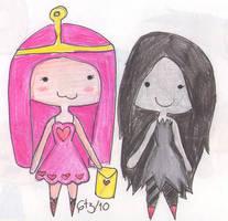 Chibi Bubblegum and Marceline by Pocket-rebelion