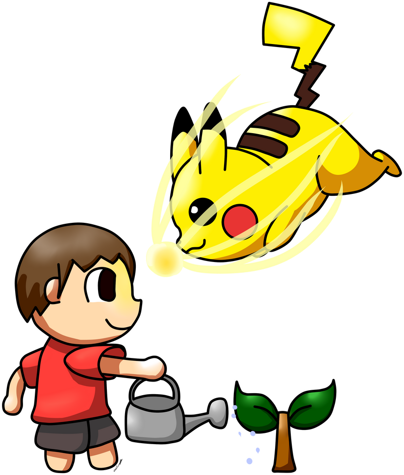 Villager VS Pikachu by AlenaChen