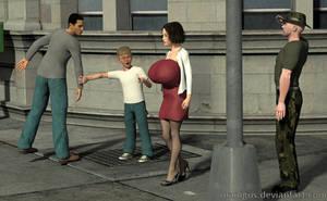 Huge breasted lady walking on street 1 by Manigus
