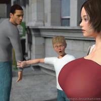 Huge breasted lady walking on street 3 by Manigus