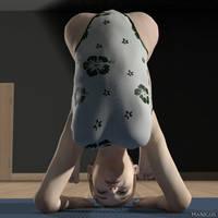 Nice flexible young lady doing yoga