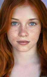 Real Freckled Young Beauty Redhead Woman