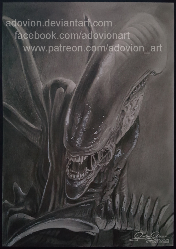 Alien Pencil Drawing by Adovion