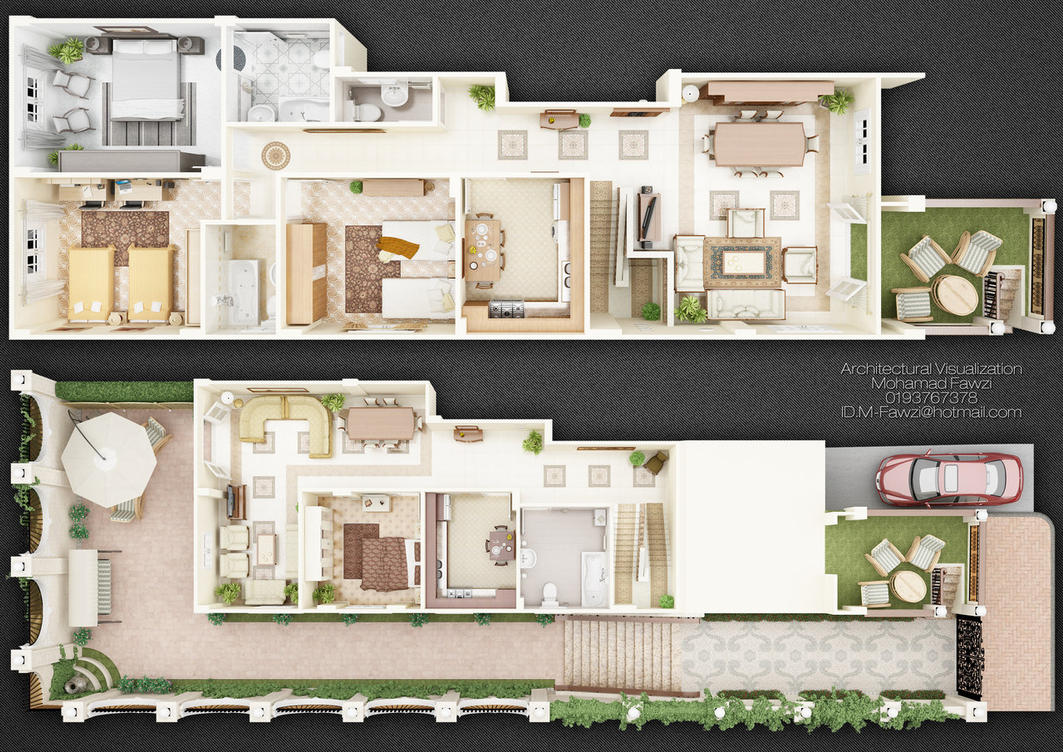 Duplex 3d plan by m fawzi on deviantart Plan your house 3d