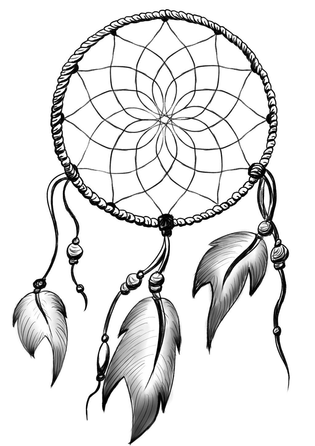 Dream catcher by nekosenpai112 on deviantart for Dream catcher tattoo template
