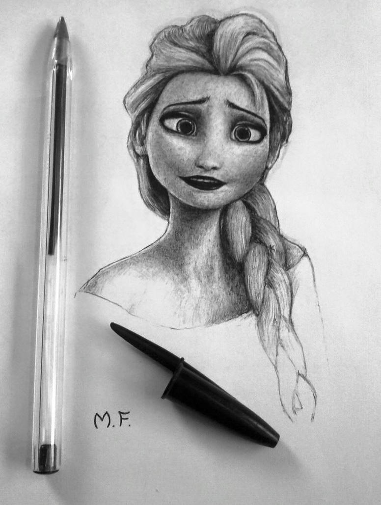 Elsa - Frozen (Drawing) by DesignerMF