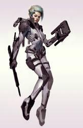 Cyborg Vampire Chick by Robotpencil