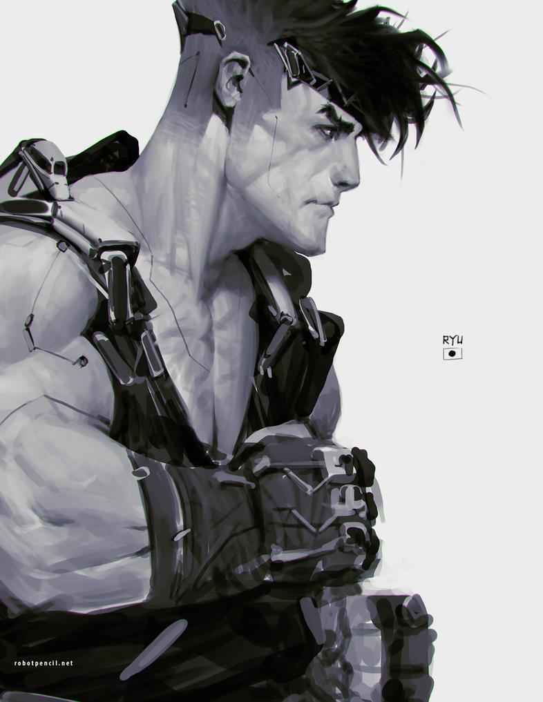 Ryu + Deus Ex by Robotpencil