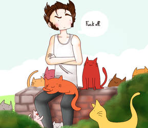 Wolverine and a cat (or two ... or three ...) by ice-cream-skies