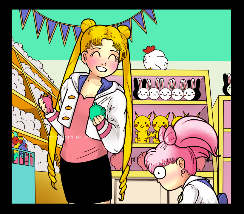 Usagi at the shops (screencap redraw) by ice-cream-skies