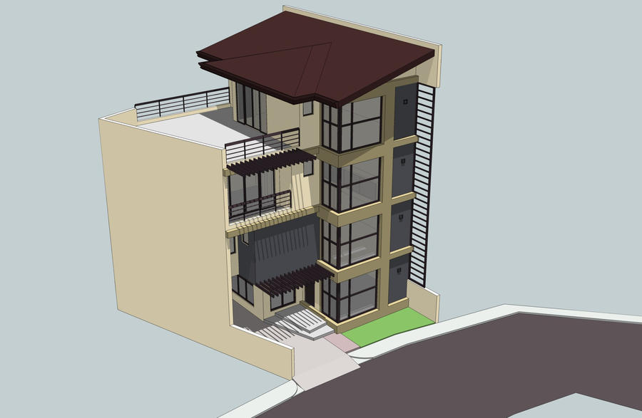 3 Story Townhouse Floorpan With Roof Deck Architecture Two