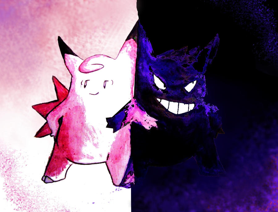 clefable and gengar by thalassal on deviantart