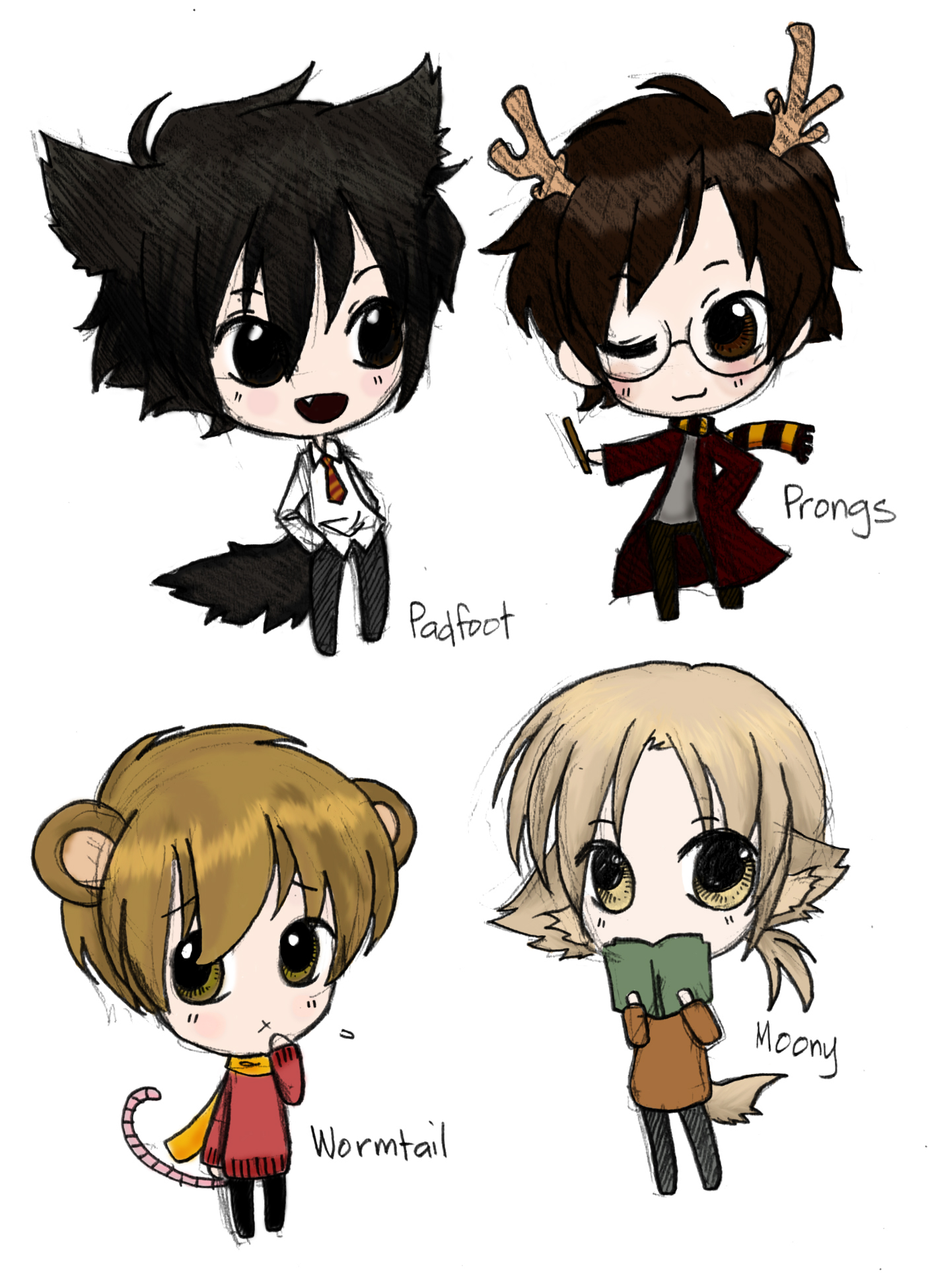 Moony, Wormtail, Padfoot, and Prongs by The-Ghost-Writer ...