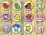 Cute Chinese Animal Zodiacs Buttons
