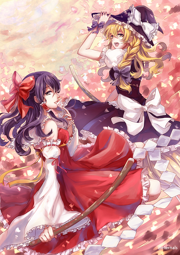 Touhou : Reimu and Marisa by Eternal-S