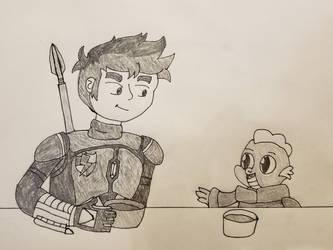 Mandolorian Flash Sentry and Baby Spike by BlazeDeku