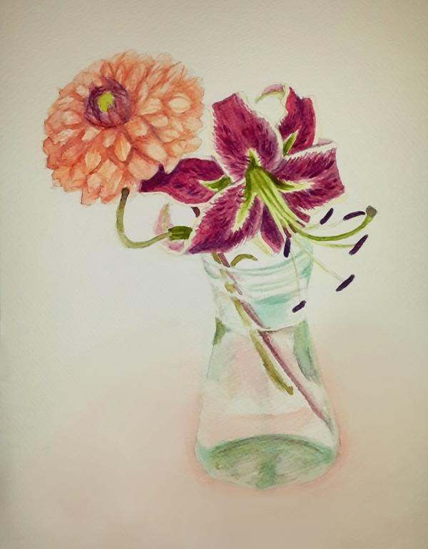 Dahlia and lily by darkmagou