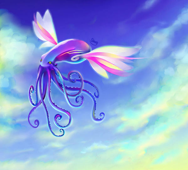Hppy Flying Octopus in sky by zgul-osr1113 on DeviantArt